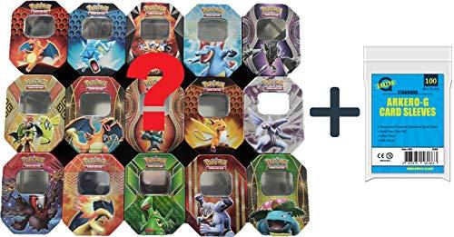 Pokemon 5 verschiedene Motiv Tin Dosen LEER Sammel-Dosen | Spielzeug-Behälter | Kinder-Dose mit Deckel + Arkero-G Standard Soft Sleeves 100 Karten-Hüllen