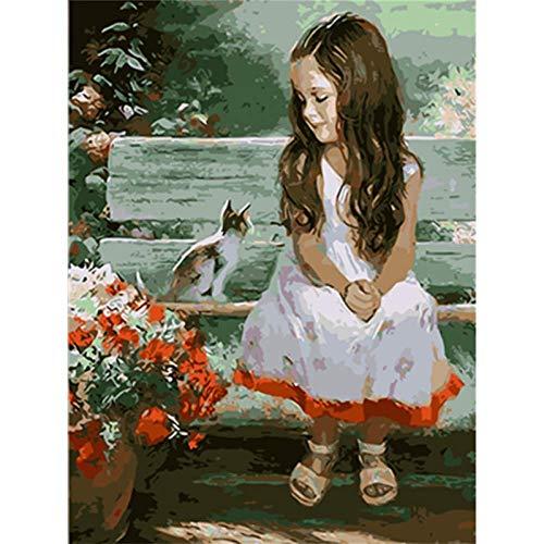 Kleines Mädchen Und Katze Die Auf Einem Hocker Neben Blumen Sitzen Malen Nach Zahlen Diy Erwachsene Anfänger Handgemalt Gemlde Set Inklusive Pinsel Acrylfarben Für Heimdekoration 16×20 In Rahmenlos