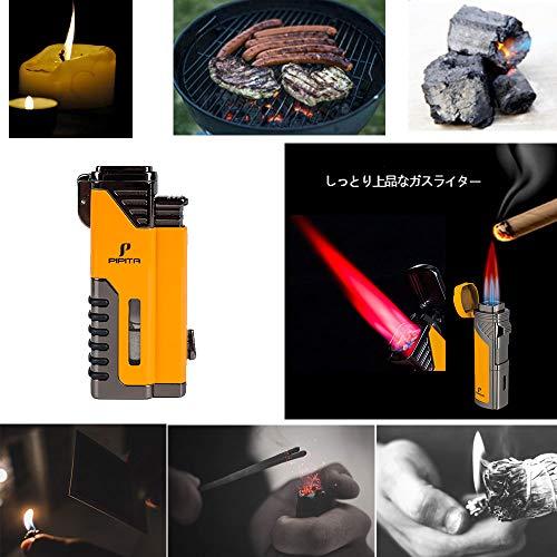 【高い品質】PIPITA直噴ターボライターガスシガー葉巻ライターバーナーフ防風注入式キャンプジェットライタートーチ・火起こし(ガスなし)(ガスなし)(Yellow)