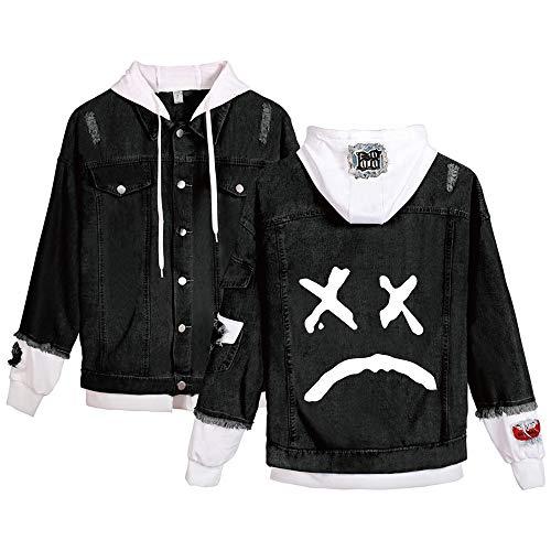 Dooljhjyr Lil PEEP Outwear Jeansjacke Herren-Oberbekleidung Personality gedruckt Mantel Patchwork 2-In-1 Kapuzenjacke Lil PEEP Kapuzenpullover (Color : Black06, Size : Height-180cm (Tag XL))