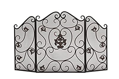 """Deco 79 Traditional Scrollwork 3-Panel Fire Screen, 30"""" H x 47"""" L, Textured Black Finish by Deco 79"""