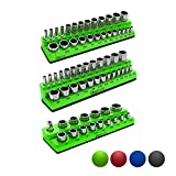 Olsa Tools Magnetic Socket Organizer | 3 Piece Socket Holder Kit | 1/2-inch, 3/8-inch, 1/4-inch Drive | SAE Green | Holds 68 Sockets | Premium Quality Tools Organizer