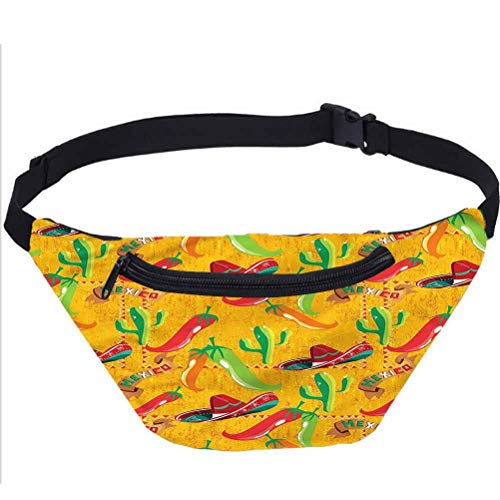 Mexican Fanny Pack,Latino Elements Sombrero Waist Bag for Women Men Kids