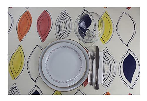 Mantel Resinado Rectangular - Cuadrado. Mantel Antimanchas Estampado, Impermeable, Flexible y Lavable al Corte (Hojas Animadas, 120x140 cm)