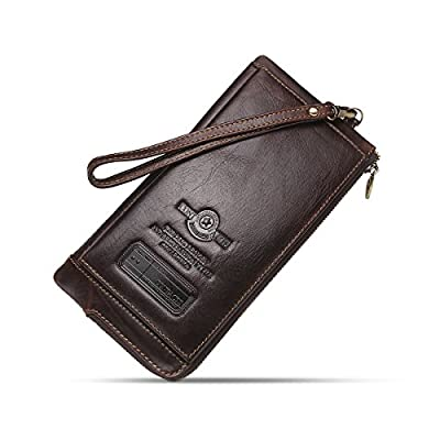 Contacts Mens RFD Genuine Leather Credit Card Zipper Pocket Phone Holder Clutch Purse Long Wallet Dark Coffee