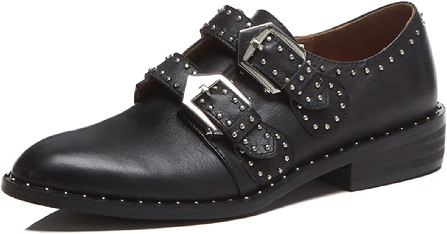 Nine Seven Genuine Leather Women's Round Toe Low Chunky Heel Slip On Handmade Comfort Pump shoes with Buckle Detail