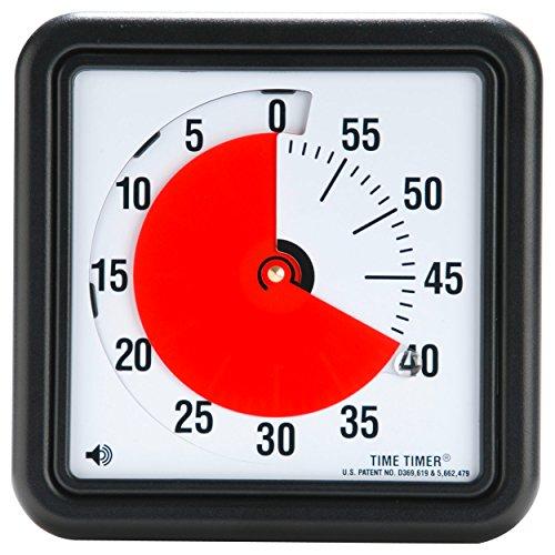 Time Timer Original Medium 20x20 cm; 60-minuten visueller Timer - Countdown-Uhr für Klassenzimmer oder Besprechungen für Kinder und Erwachsene (schwarz)