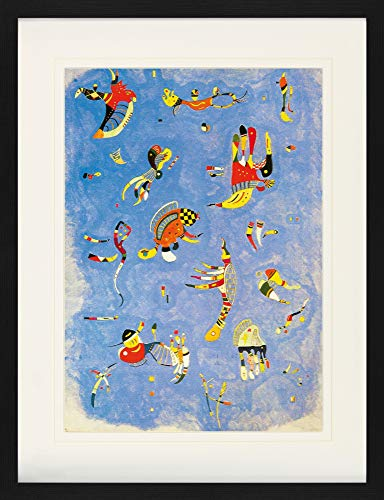 1art1 Wassily Kandinsky - Himmelblau, 1940 Gerahmtes Bild Mit Edlem Passepartout | Wand-Bilder | Kunstdruck Poster Im Bilderrahmen 80 x 60 cm