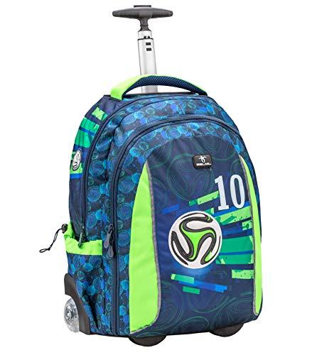 Belmil 2-in-1 Schultrolley Schulrucksack - Schultasche mit Rollend und Laptopfach für Kinder Jungen/Blau/Fußball, Football (338-45 Soccer 20)