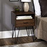 Walker Edison Modern 1-Drawer Square Side End Accent Table Living Room Living Room Storage Small End Table, 18 Inch, Dark Walnut