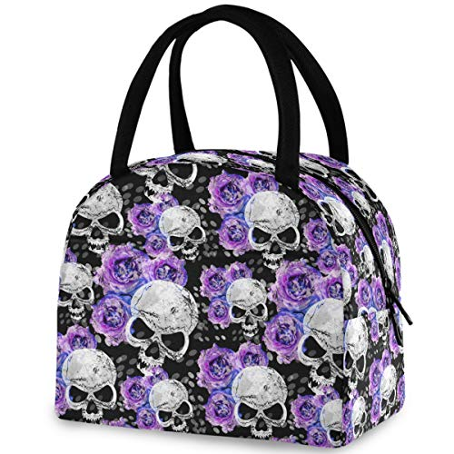 ZzWwR Stylish Skull Purple Rose Reusable Lunch Tote Bag with Front Pocket Zipper Closure Insulated Cooler Container Bag for Man Women Work Picnic Travel Beach Fishing