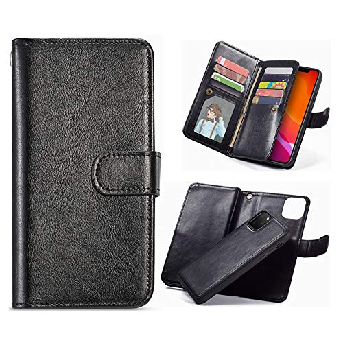 Hynice iPhone 11 Pro Max Wallet Case, Women Magnetic Detachable PU Leather Case with 9 Card Slots Removable Shockproof Slim Back Cover for iPhone 11 Pro Max 6.5 inch(9Black, iPhone 11 Pro Max) -  Hy-1111-1663