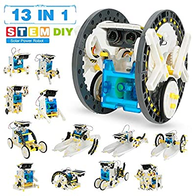 Pickwoo STEM 13-in-1 Solar Power Robots Creation Toy, Educational Experiment DIY Robotics Kit, Science Toy Solar Robot Kit Age 8-14 for Boys Girls Kids Teens to Build