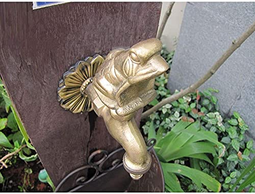 Yiffshunl Grifo de jardín al Aire Libre Grifo con Forma de Animal Bibcock con Grifo de Rana de latón Antiguo para Lavadora/Grifo de riego de jardín para Animales