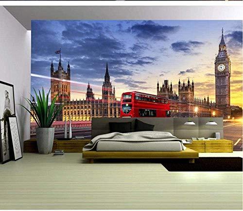 HUWIW Tapete Wandbild 3D Poster Wand Dekorative Selbstklebend Bild Fototapeten 400X280Cm Londoner Big Ben Roter Bus Kinderzimmer Baby Schlafzimmer Zimmer Flur Büro Cafe Moderne Wanddeko