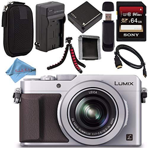 Panasonic Lumix DMC-LX100 DMC-LX100S Digital Camera (Silver) + DMW-BLG10 Lithium Ion Battery + Charger + Sony 64GB SDXC Card + Case + Tripod + HDMI Cable + Memory Card Wallet + Fibercloth Bundle