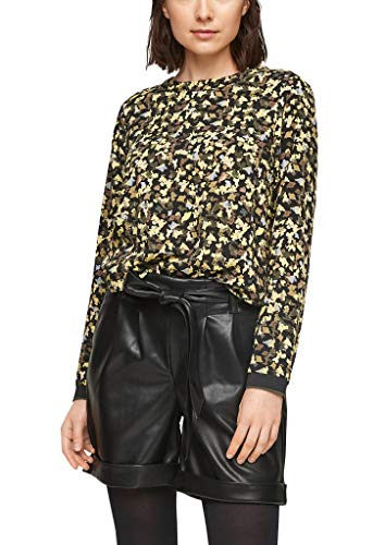 s.Oliver Damen Print-Bluse aus Viskose Black AOP 46