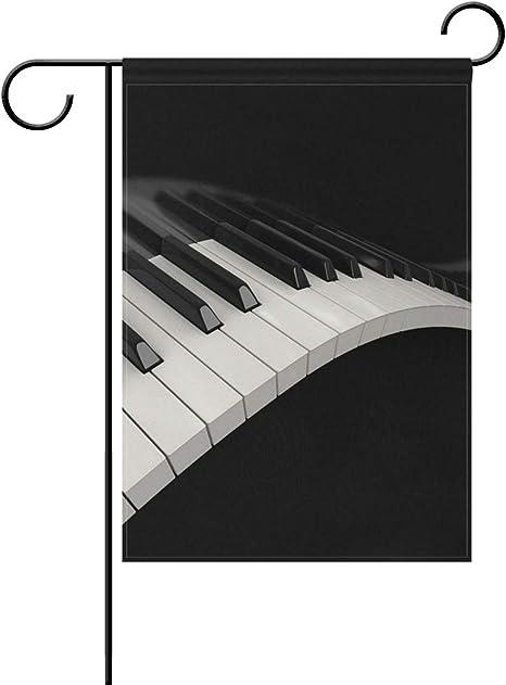 AMONKA Teclado de Piano Negro y Blanco, Bandera de jardín de ...