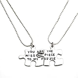 Meiligo Fashion 2 Pcs Couples Gift Alloy You are The Missing Piece to My Puzzle Letter Puzzle Dog Tag Necklace Square Matching Engraved Heart Letter Necklace Set