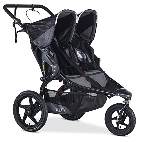 BOB Gear Revolution Pro Duallie Jogging Stroller - Up to 100 pounds - UPF 50Plus Canopy - Easy Fold - Adjustable Handlebar with Hand Brake, Black