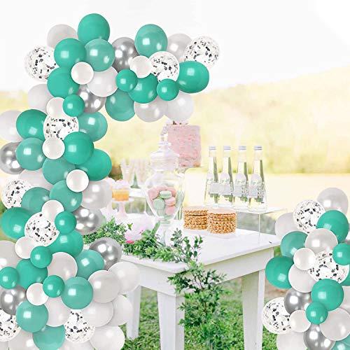 Kit de arco de globo, 100 piezas de guirnalda de globos de color turquesa de color plateado, verde azulado blanco, globos de confeti de plata para bodas, fiestas de compromiso, cumpleaños baby