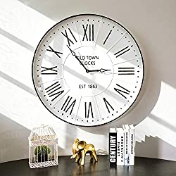 Glitzhome 31.5 Oversized Decorative Wall Clock with Roman Numerals, Large Round Metal Imitation Enamel Rustic Wall Clocks for Kitchen Living Room Bedroom Office School