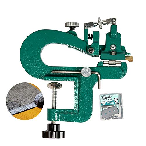 ZONEPACK Manual Leather Skiver Leather Paring Device Machine Hand Leather Peel Tool Vegetable Tanned Leather Peeler (Green)