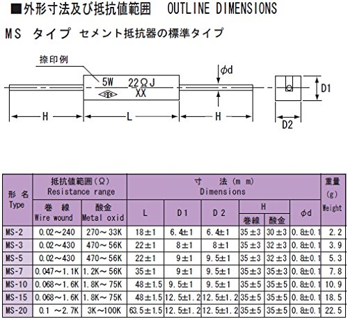 TDO抵抗器 角形セメント抵抗器 5W MS-5 0.39ΩJ (10個入)