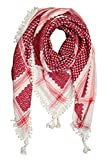 AUTHENTIC 100% Cotton Fashion Dessert Arab Middle Eastern Keffiyeh Tactical Military Hatta Shemagh scarf (Red White)
