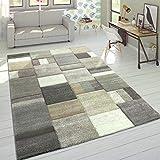 Paco Home Alfombra Diseño Moderna Perfil Contorneado Colores Pastel Cuadros Beige, tamaño:200x290 cm