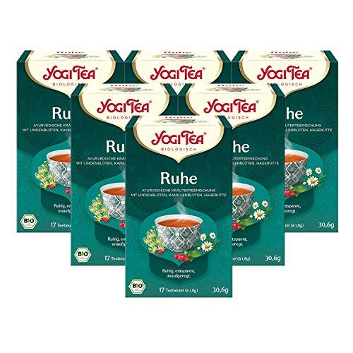 Yogi Tea 6x Ruhe Tee Bio Yogi Tee I beruhigende ayurvedische Kräuter-Tee-Mischung I Bio-Qualität - 6x 17 Tee-Beutel I Kräutertee 6 Päckchen