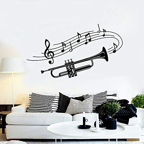 WERWN Trompeta Tatuajes de Pared Instrumentos Musicales Notas Musicales Arte Puertas y Ventanas Pegatinas de Vinilo Dormitorio Sala de música decoración de Interiores murales