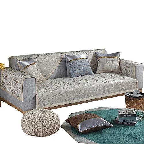 Fundas de sofá universales de Chenilla Juego de Fundas de sofá Antideslizantes Protector de Muebles Funda de sofá Resistente a Las Manchas,Café Ligero,80X160cm