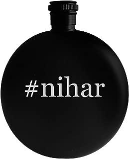 #nihar - 5oz Hashtag Round Alcohol Drinking Flask, Black