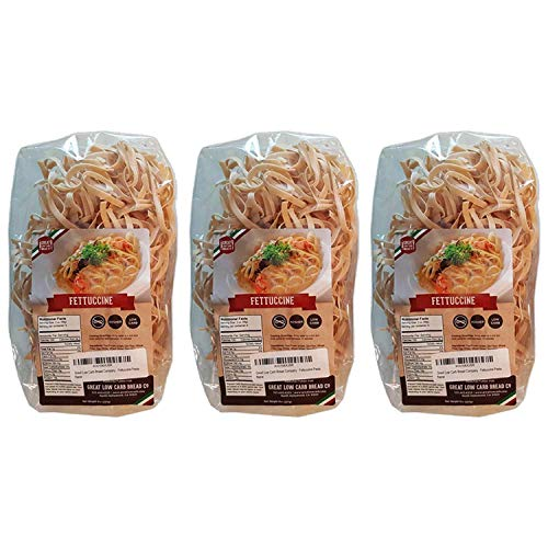 Low Carb Pasta, Keto Pasta, Great Low Carb Bread Company ,7g Net Carbs, 12g of Protein, Non GMO, (Fettuccine, 3 Pack)