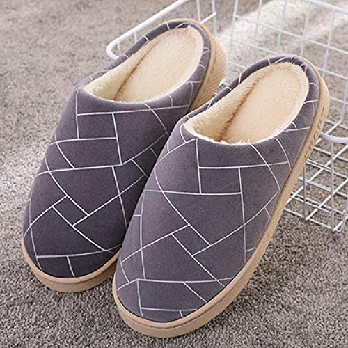 Men House Slippers Warm Indoor Outdoor Slip On,Winter thick-soled cotton shoes, household warm slippers-2 gray_UK7-UK7.5,Ladies Mens Comfort Slippers