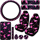 10 Pieces Flamingo Car Seat Covers, Front Seat Covers, Steering Wheel Cover, Seat Belt Shoulder Pads, Center Console Armrest Pad Cover, Car Cup Holder Coasters and 2 Different Key Rings