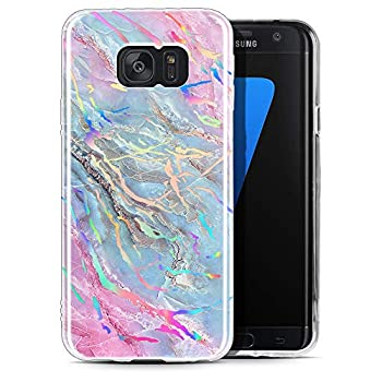 Galaxy S6 Case Miss Arts Marble for Women & Girls Ultra Slim Glossy Soft TPU Rubber Gel Protective Case Cover for Samsung Galaxy S6 - Holographic Blue