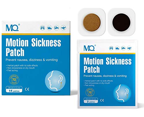 MQ Motion Sickness Patch for Car and Boat Rides, Cruise and Airplane Trips - Relieves Nausea, Dizziness & Vomiting from Seasickness, Fast Acting and No Side Effects (14 Count)