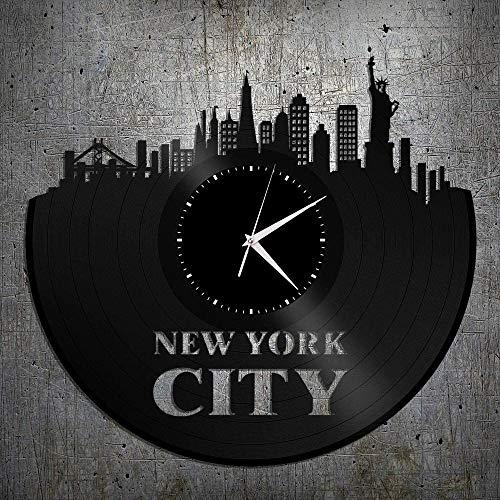 XYVXJ Reloj de Pared de Vinilo con Horizonte de Nueva York, decoración de Paisaje Urbano, Arte, Moderno, diseño Vintage Vintage, Oficina, Bar, habitación, decoración del hogar
