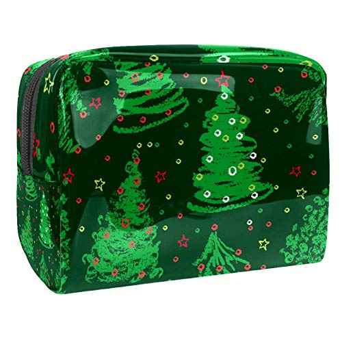 Travel Makeup Bag Portable Cosmetic Case Waterproof Toiletry Bag Large Storage Organizer Pouch for Women and Girls - Christmas Trees Doodles