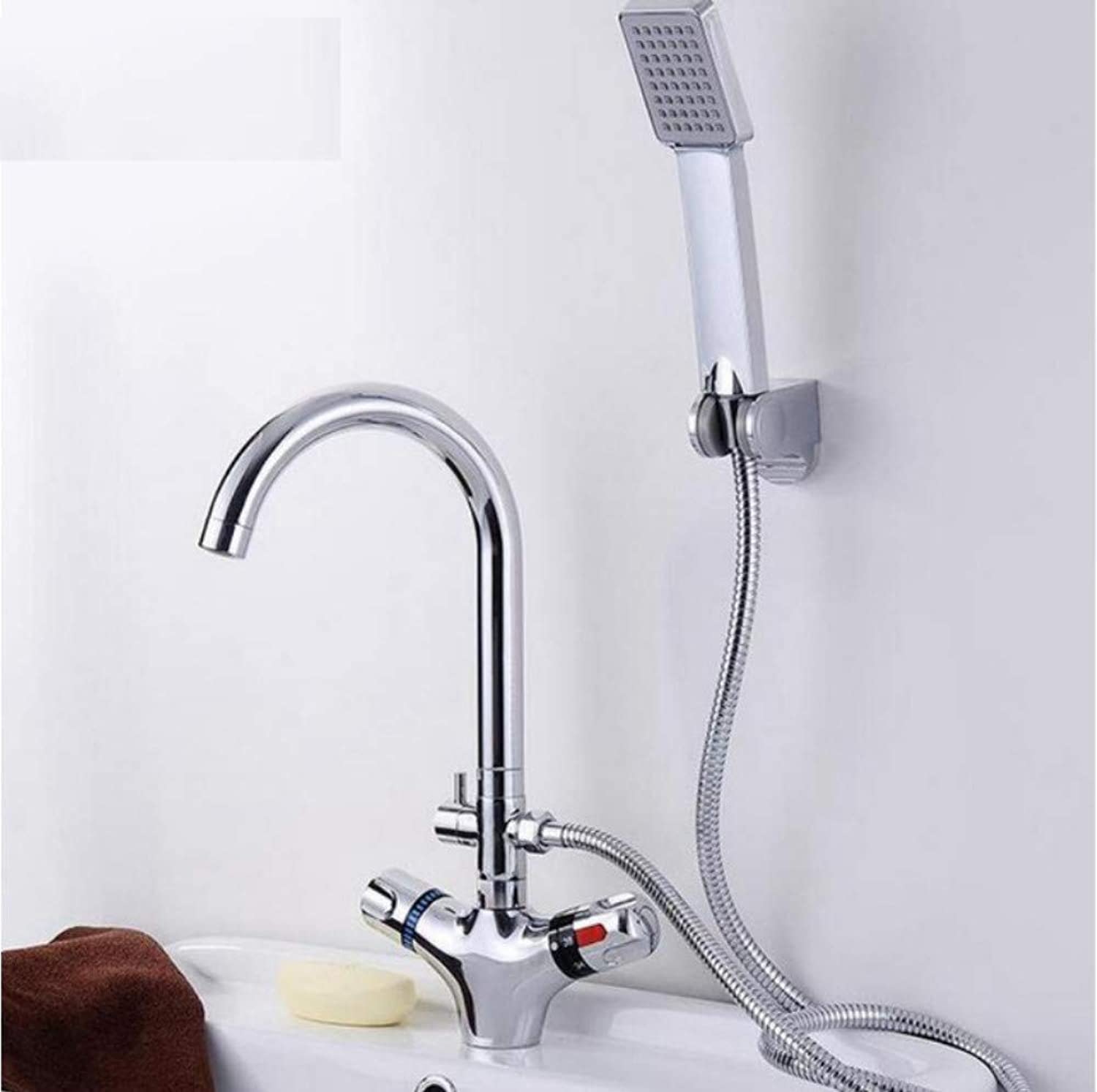 Dwthh Bathroom Basin Faucet Thermostatic Water Tap Mixer with Hand Shower Cold and Hot Water Mixer Bathtub Faucets