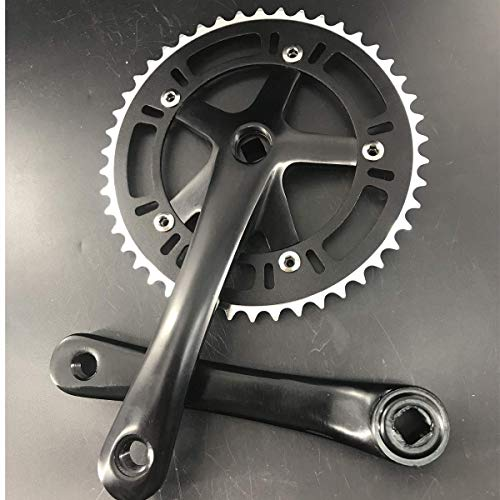 DONSP1986 Crankset Set Single Speed 46T 170mm Crankarms 130 BCD for Mountain Road Bike Fixed Gear Bicycle (Square Taper, Black) (46T, Sprocket)