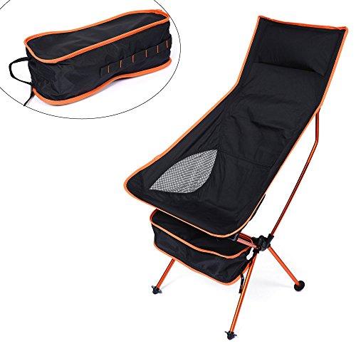 allungato luna Ultralight sedia pieghevole, picnic all' aperto pesca campeggio sedie pieghevoli forte e durevole, comoda da viaggio di design, con schienale alto, con custodia per il trasporto