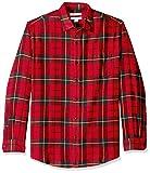 Amazon Essentials Men's Regular-Fit Long-Sleeve Plaid Flannel Shirt, Red/Yellow, Medium