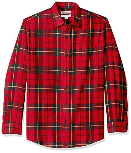 Amazon Essentials Men's Regular-Fit Long-Sleeve Plaid Flannel Shirt, Red/Yellow, Large