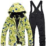 Ez4garden - Traje de esquí de invierno para niña, resistente al viento, impermeable, gruesa y cálida, de algodón, Niñas, color Parte superior verde+pantalones negros, tamaño L