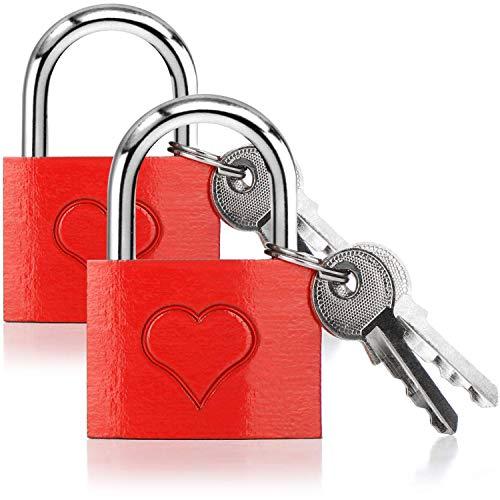 com-four® 2X Liebesschloss mit eingraviertem Herz - Vorhängeschloss mit je 2 Schlüsseln für romantische Momente (002 Stück - mit Gravur)