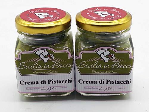 CREMA DE PISTACHO SICILIA IN BOCCA 100% MADE IN ITALY 30% de Pistacho verde, dulce y esparcible, rico en propiedades nutricionales y naturales, para rellenar pasteles y para el desayuno.2x90 Gr.