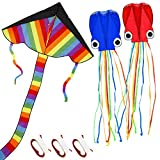 TOY Life Kites for Kids Easy to Fly - 3 Pack Kids Kites - Large Rainbow Delta Kite and 2 Giant Octopus Kite - Kite for Kids Ages 4-8 - Flying Kites for Children - Kites for The Beach - Easy Fly Kites